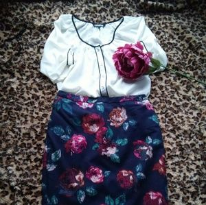 🎀Merona Navy Floral Pencil Skirt